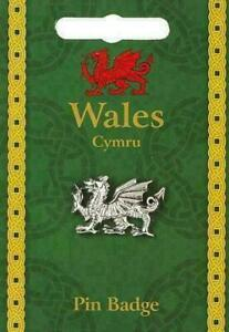 Welsh Dragon Badge Wales Charm Pin Souvenir Gift Bag Silver Pewter Purse Lapel