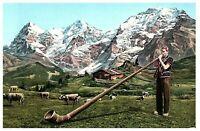 Alphornblaser Alpine Horn Ricola Switzerland Postcard