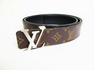 Authentic LOUIS VUITTON Monogram Leather Belt LV Initales Reversible #7890