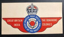 Mint Air Baggage Label British Commonwealth War Relief Assoc Of Philippines