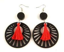 Red Cotton Tassels Lightweight Laser Cut Black Wood Dangle Earrings #365