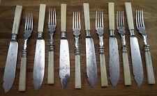 fancy Victorian etched Sheffield bone Fish Knives Forks Set vtg Williams Brooke