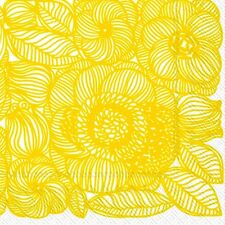 Marimekko KURJENPOLVI yellow floral luxury napkins paper napkins new 20 pack