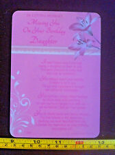In Loving Memory Missing You On Your Birthday Daughter Poem Plastic GiftCard New