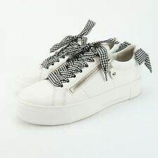 Kennel & Schmenger Big Gingham Lace Side Zip Sneaker Shoes Women's Size 6 pl8
