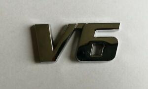 V6 3D METAL BADGE LOGO EMBLEM STICKER GRAPHIC DECAL SILVER CHROME CAR RACING .