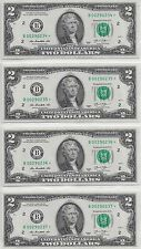 4 $2 2013 B Star Bills, Uncirculated; Consecutive Serial Numbers; LotT279я0