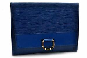 Authentic Louis Vuitton Epi Iena 32 Clutch Bag Blue LV 92311