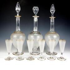 Fine Antique French Liqueur Service, St. Louis, 3 Decanters & 6 Cordials, Stems