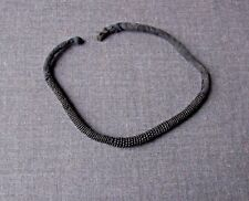 ANTIQUE AFRICAN ETHNIC BLACK BEADED FABRIC STRAP COLLAR NECKLACE OR BRACELET
