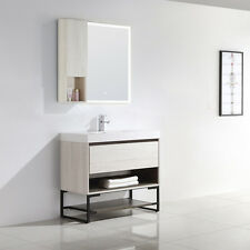 "Dowell 015 Srs 36"" Single Modern Bathroom Vanity In Off White Finish With Base"
