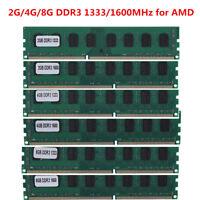 2G/4G/8G DDR3 1333/1600MHz PC3-10600/12800 DIMM Desktop PC for AMD Memory Ram GM