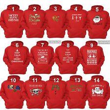 UGLY CHRISTMAS SWEATER Vacation Santa Funny unisex Men Women Hoodie Hoody RED