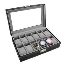 12 Grid Slots Wrist Watch Display Box Storage Holder Organizer Case PU Leather