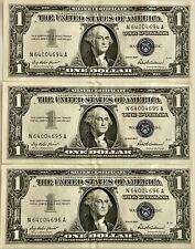 3 Pristine 1957 Consecutive Serial Number Silver Certificates, See Other Notes