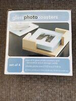 Decorative Glass Photo Coasters Displays 2 1/2 x 2 1/2 Photo - New in Box