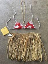 Childs Hawaiian Hula Outfit Grass Skirt Shell Necklace & Bra Fancy Dress Costume