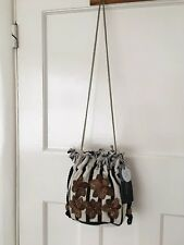 ZARA FABRIC DRAWSTRING EMBROIDERED BEADED CROSSOVER CHAIN SHOULDER BUCKET BAG
