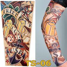 Hombre Slip On brazo Nailon Elástico Medias falsa Mangas de tatuaje temporal ancla de dados
