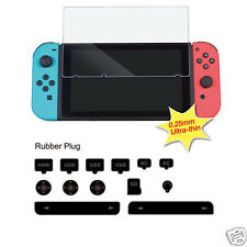 Nintendo Switch Tempered Glass Screen Film Cover Anti Dust Plugs Set for Console