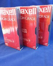 Maxell High Grade VCR Tape 6 Hour Record Time Lot of 3 SEALED T-120