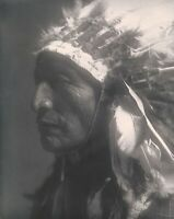 "Native American Indian, Eagle Elk, 1907 photo, Sioux, Curtis, Headdress, 20""x16"""