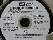 750 GB Western Digital WD7500AAKS-00RBA0 / HARNHA2ABB / OCT 2007 Hard Disk #02