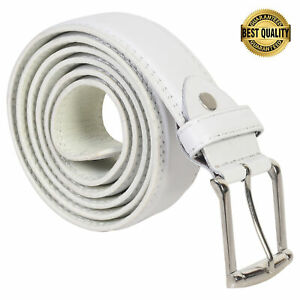 Leatherboss Genuine Leather Men Stylish Casual Jeans Belt, White