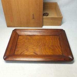 D1215: Japanese wooden rectangle tray of tasteful wood with signed box