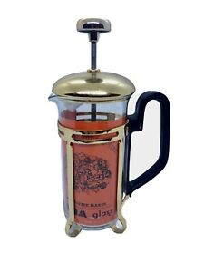 Vintage YAMA GLASS 1.25 Cup French Press Coffee Tea Gold Metal Lid Black Handle