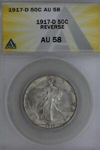 1917-D .50 ANACS   AU 58 REVERSE Walking Liberty, Lady Liberty Half, 0.50