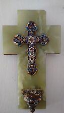 Catholic French Limoges cloisonne champlevé large cross marble bronze stoup Font