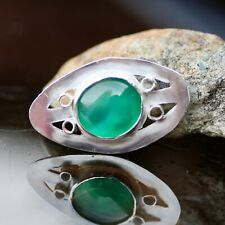 Natural Green Onyx Brooch Sterling Silver 925, Bezel , Unisex