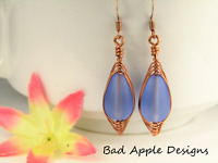 Cobalt Blue SEA GLASS Teardrop COPPER Weave Wire Dangle Earrings USA HANDMADE