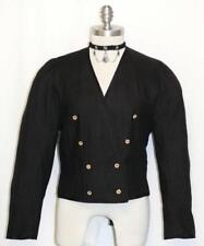 BLACK ~ LINEN German Women Sport Riding SUMMER Dress Suit JACKET Coat / 38 6 S