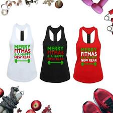 Christmas Racerback Vest - Merry Fitmas And A Happy New Rear - Xmas Gym Gift