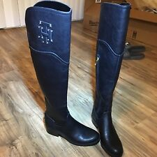 TOMMY HILFIGER GERRIE OVER THE KNEE LEATHER BOOTS Round Toe Sz 5.5M Black