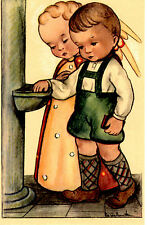 "Vintage Netherlands Postcard Young Boy & an Angel Holy Water Font 3.5"" x 5.5"""