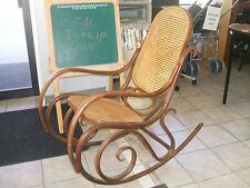 Rocking Chair Bentwood Double Circle Early 1970's Walnut Stained Original Caning
