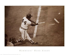BASEBALL ART PRINT - Hammerin' HANK AARON Breaking Bat 24x30 Photo Poster