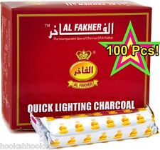 100  Al Fakher 33 mm Quick Light Easy Lite Hookah shisha Charcoal Coal 10 Rolls