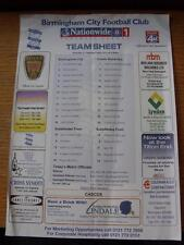 02/02/2002 Colour Teamsheet: Birmingham City v Crewe Alexandra [Abandoned] (Slig
