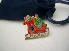 Masonic Freemason Christmas Sled Sledge Sleigh Lapel Pin Plus Gift Pouch