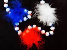 """PATRIOTIC RED WHITE BLUE """"FEATHER BOA PUFF BALLS"""" MARDI GRAS NECKLACE BOA (B843)"""