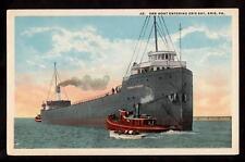 ship thomas e.cole ore boat entering erie bay pennsylvania postcard