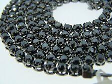 10K 1 Row Black Solitaire Tennis Diamond Chain 35.0 Ct
