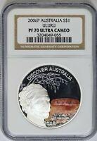 2006-P NGC Discover Australia Colorized Uluru Proof 1 oz Silver PF70 Ultra Cameo