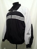 Vtg Adidas Mens Full Zip Fleece Lined Reversible Striped Nylon Jacket Coat Sz L