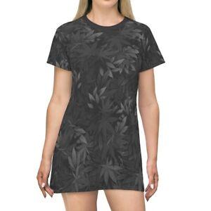 Ladies Marijuana Leaf pattern Wear Top Womens Oversized Baggy T-shirt Dress