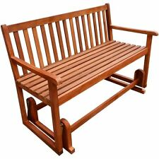 outdoor glider bench patio garden seat wooden acacia wood deck porch swing bench